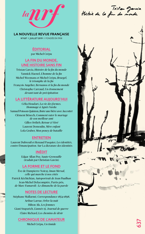 La Nouvelle revue française, n° 637, juillet 2019