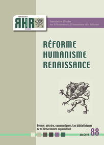 Réforme, Humanisme, Renaissance, n° 88 :