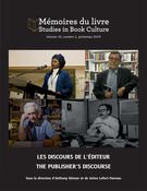 Mémoires du livre/Studies in Book Culture, vol. 10-2: