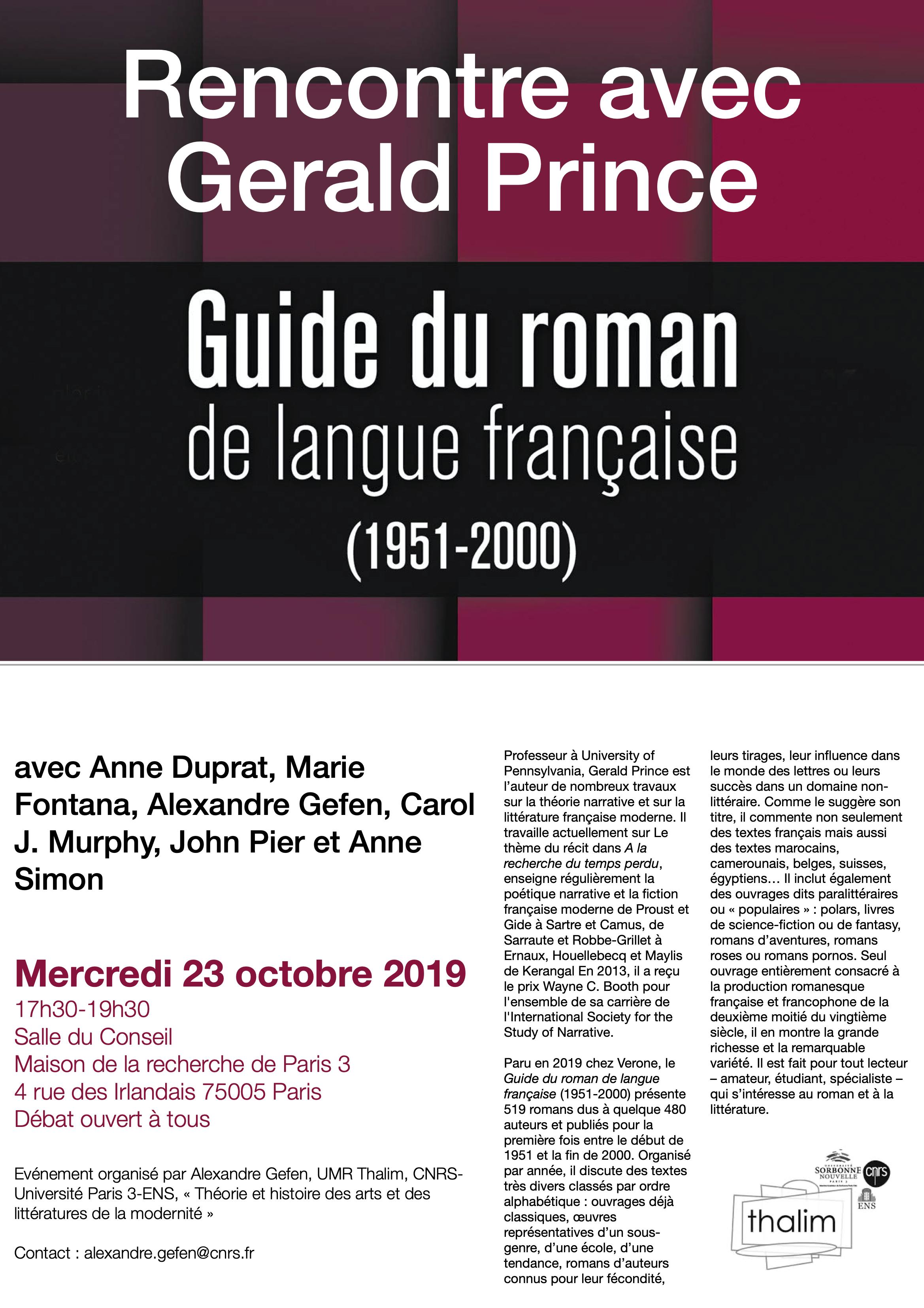 Rencontre avec Gerald Prince. Autour du Guide du roman de langue française