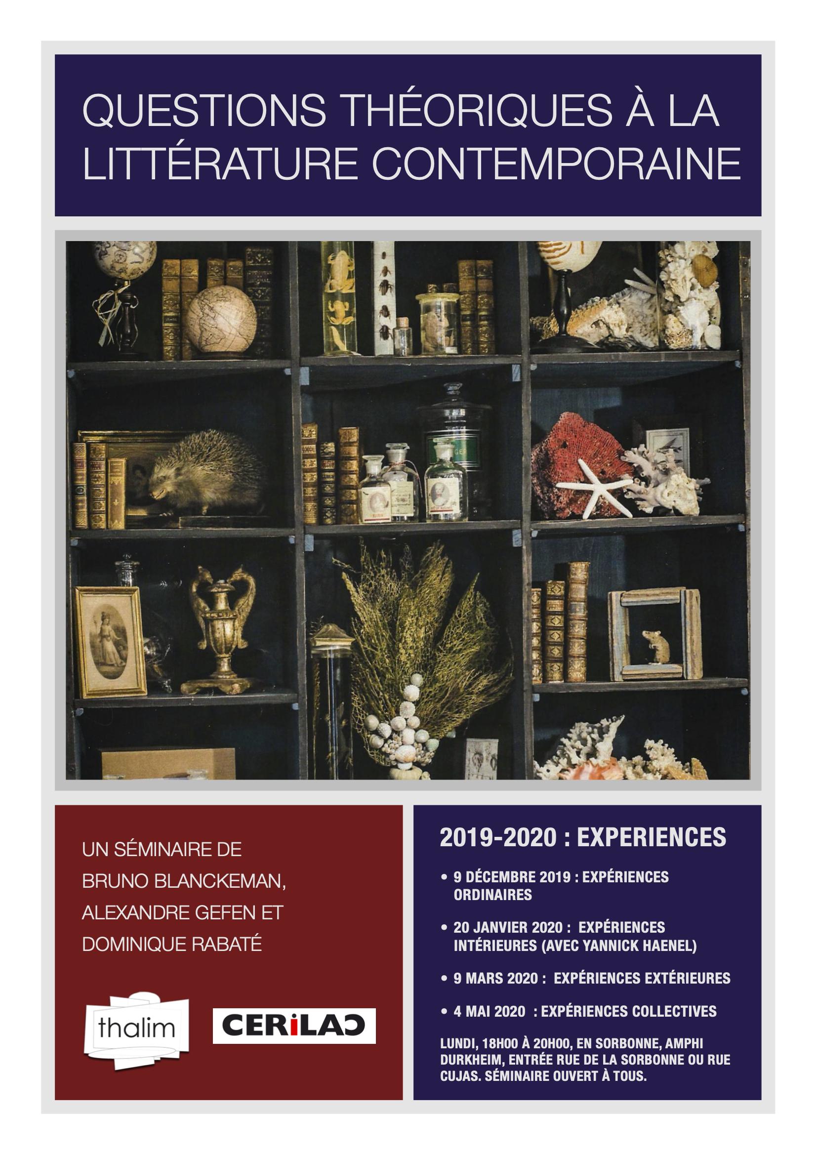Expériences extérieures  (séminaire Questions théoriques à la littérature contemporaine, 2019-2020)