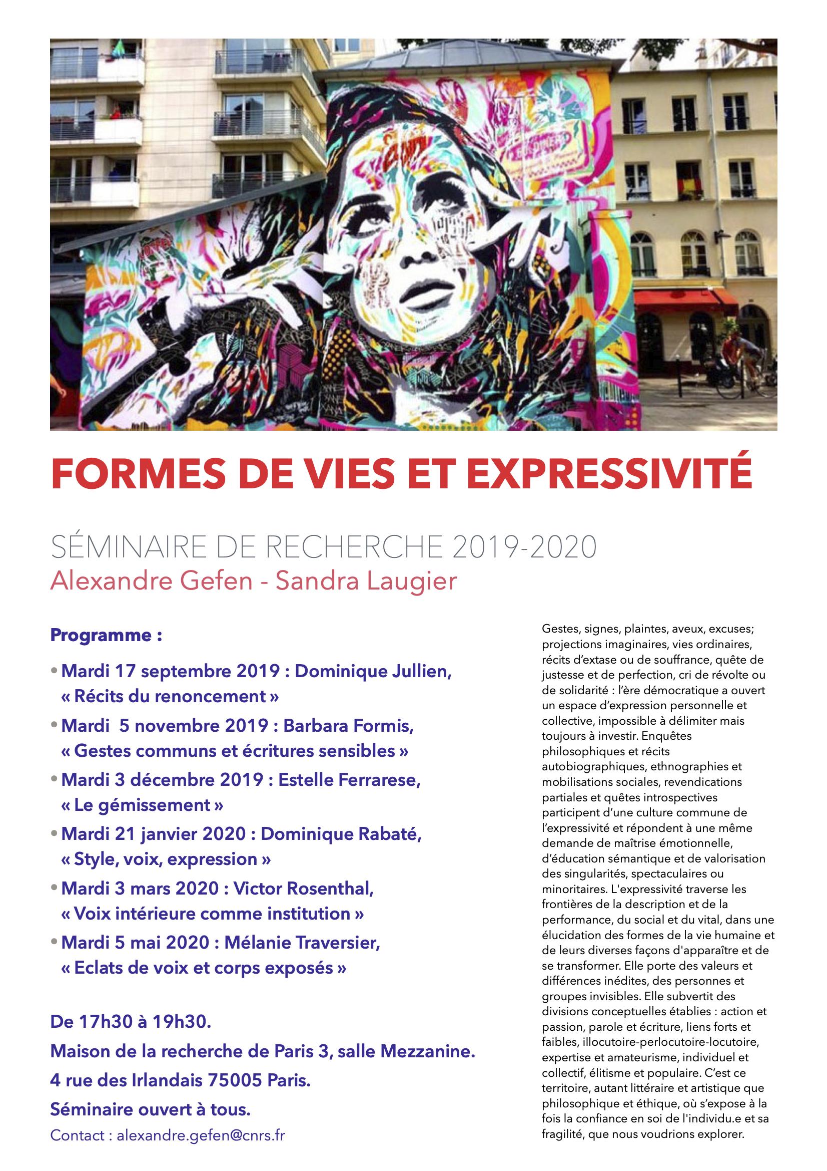 Estelle Ferrarese, « Le gémissement » (Formes de vies et Expressivité - Séminaire de recherche 2019-2020)