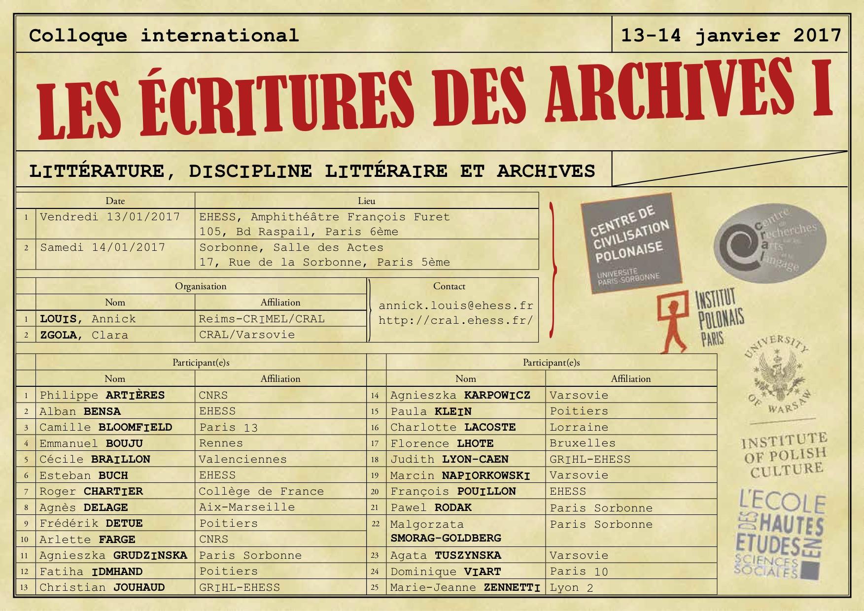 L'écriture des archives
