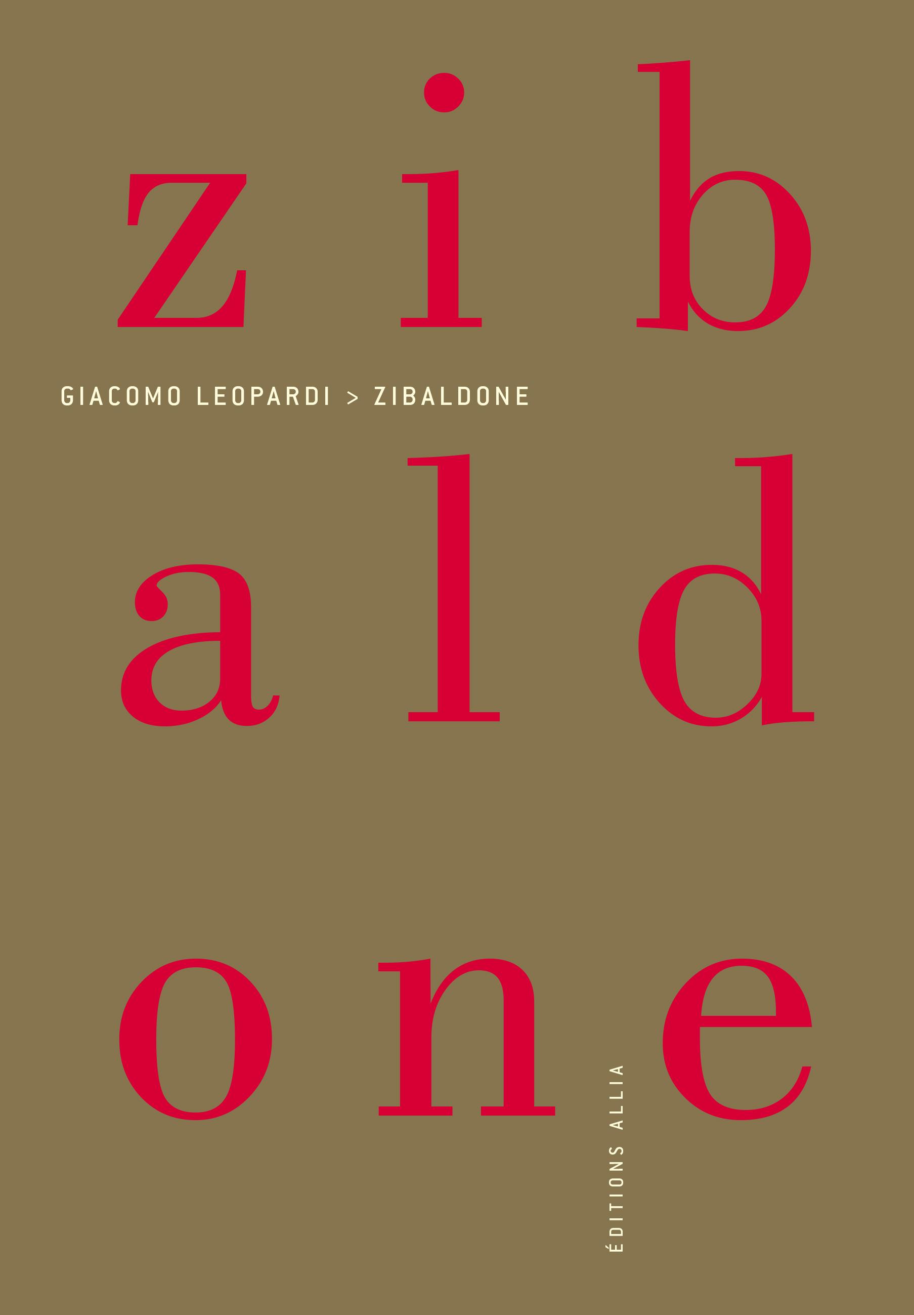 G. Leopardi, Zibaldone (éd. B. Schefer)