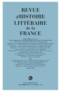 Revue d'Histoire littéraire de la France, n°4/2019
