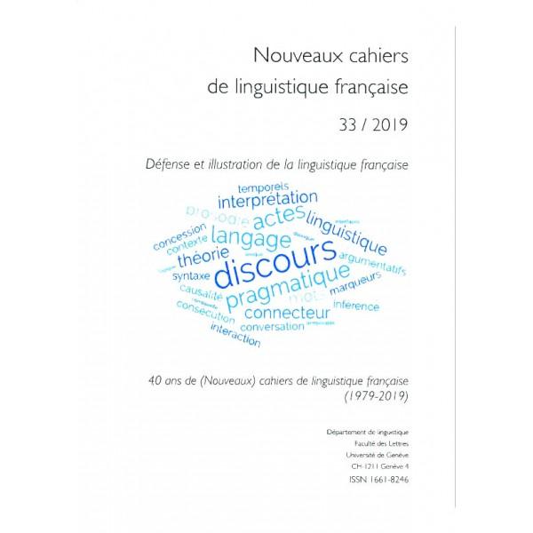 Nouveaux cahiers de linguistique française, n° 33 :