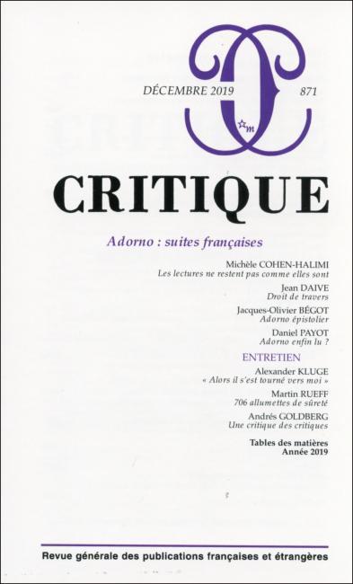 Critique, n° 871 :