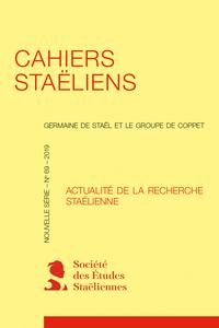 Cahiers staëliens n° 69, 2019 :