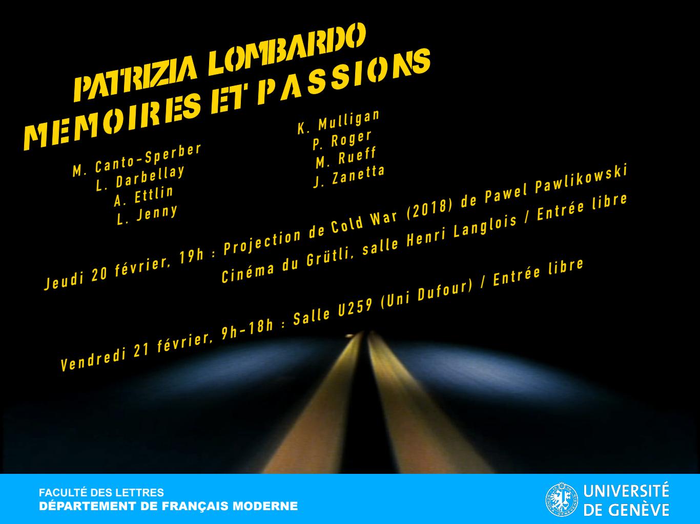 Patrizia Lombardo. Mémoire et passions (Genève)