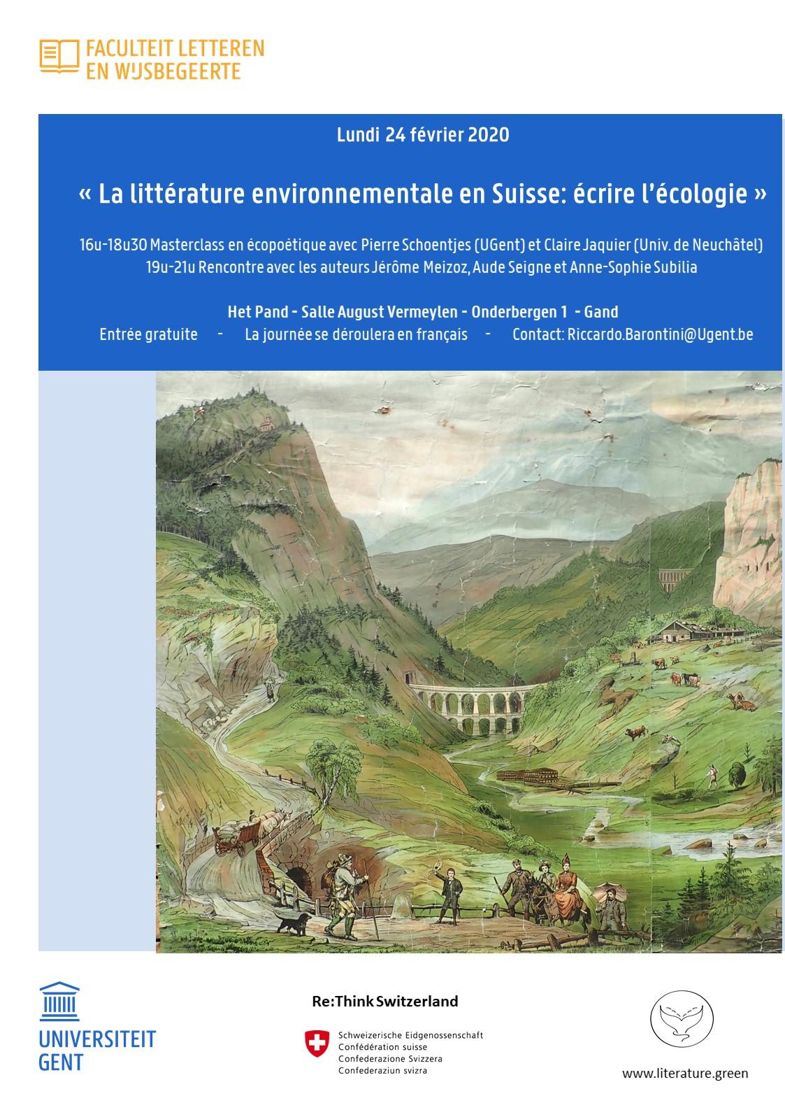 La littérature environnementale en Suisse: écrire l'écologie (Gand, Belgique)