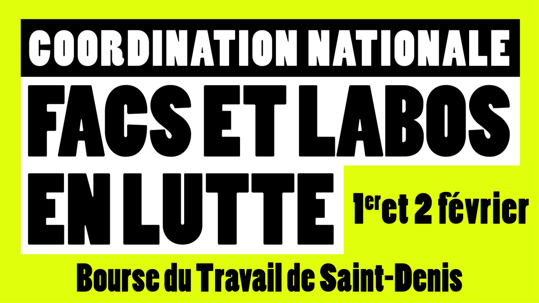[France] Motion de la coordination nationale des facs et labos en lutte réunie les 1er et 2 février 2020 à Saint-Denis