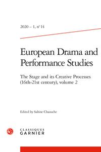 European drama and performance studies, n°14/1 :