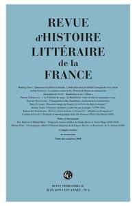 Revue d'Histoire littéraire de la France 2019, n° 2 : Varia