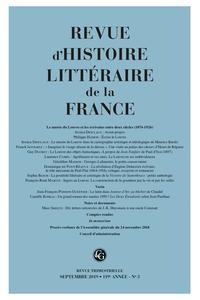 Revue d'Histoire littéraire de la France 2019, n° 3: Varia