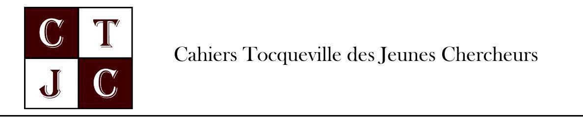 Cahiers Tocqueville des Jeunes Chercheurs, Volume 2, n°1: