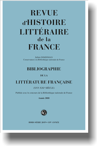 Bibliographie de la littérature française 2019, Année 2018, varia (RHLF)