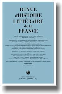 Revue d'Histoire littéraire de la France, 2020-2: