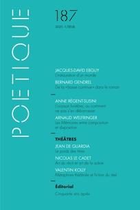 Poétique, n° 187, juin 2020
