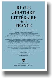 Revue d'Histoire littéraire de la France, 2020-3: