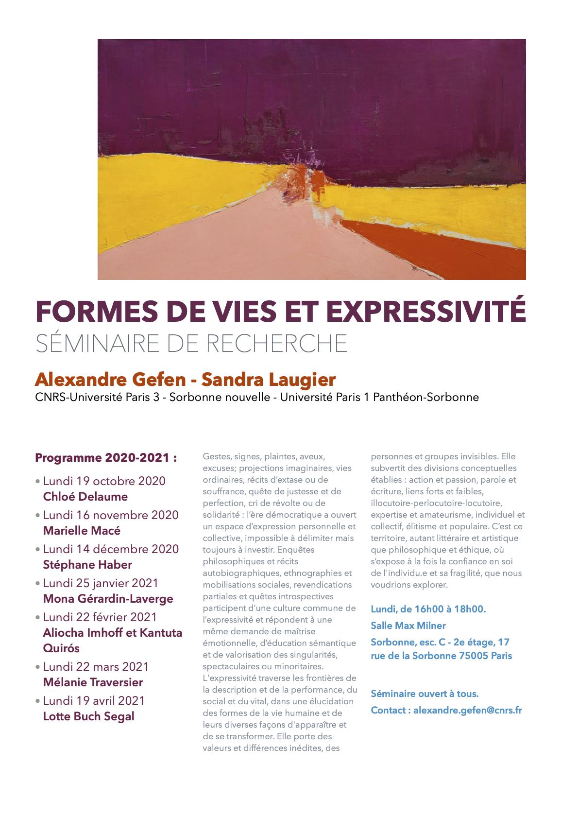 Mélanie Traversier (Formes de vies et Expressivité - Séminaire de recherche 2020-2021)