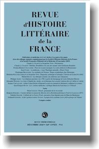 Revue d'histoire littéraire de la France, 4-2020 :
