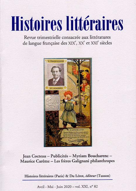 Pages de pub. Anthologie documentaire, s. dir. Myriam Boucharenc & David Martens, dans Histoires littéraires, n° 82, 2020.