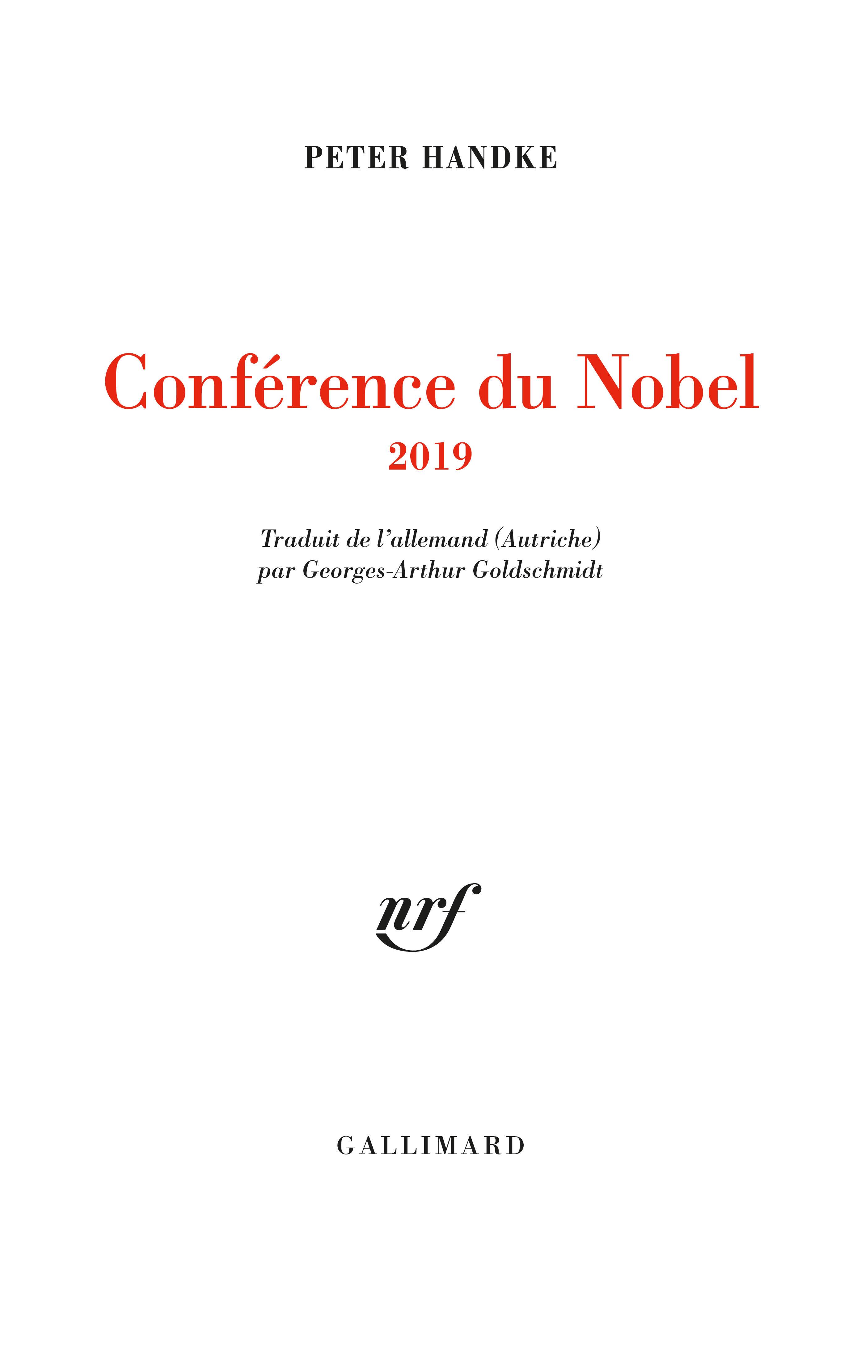P. Handke, Conférence du Nobel