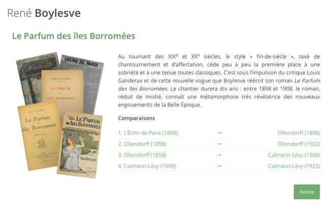 R. Boylesve, Le Parfum des îles Borromées (éd. des cinq versions par É. Dufour)